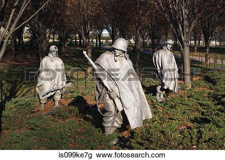 Stock Photo of Korean War Veterans Memorial, Washington DC, USA.