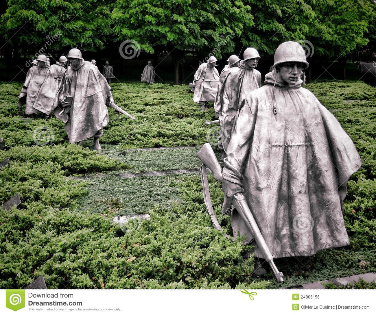 Korean War Veterans Memorial Soldiers Sculptures Editorial Photo.