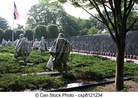 Stock Photo of Sculptures at Korean war veterans memorial.