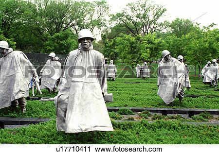 Stock Photography of Korean War Memorial, Washington, DC, District.