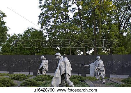 Stock Photography of Korean War veterans memorial, Washington, DC.