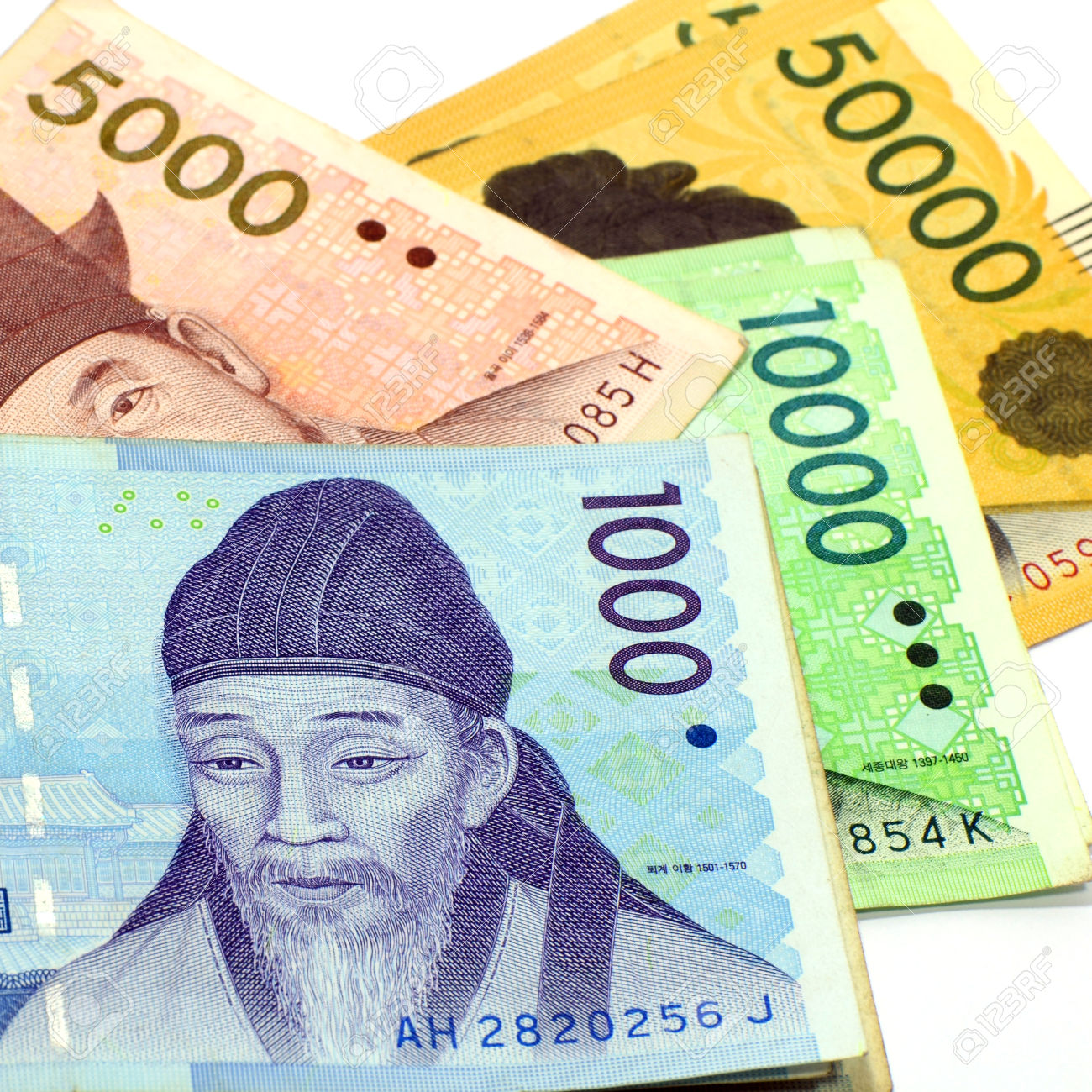 Current Use Of South Korean Won Currency In Different Value Stock.
