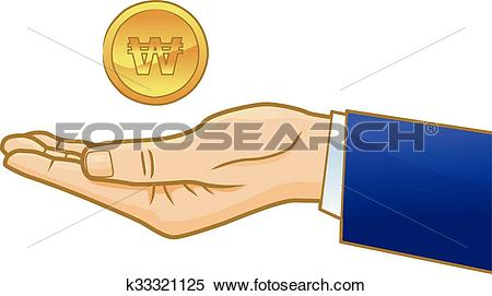 Clipart of Korean won coin on businessman hand k33321125.