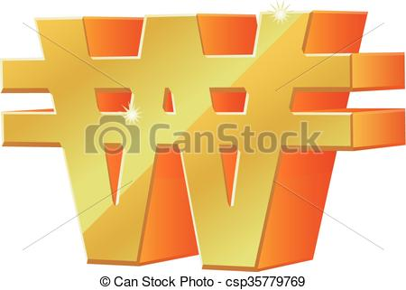 Clip Art Vector of 3D Korean won vector icon.