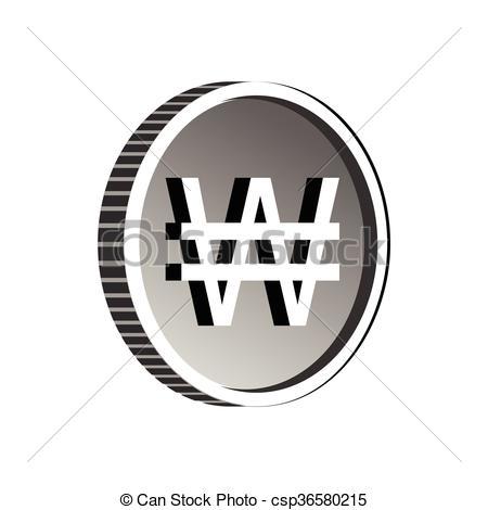 Vector Clip Art of South Korean won symbol icon, simple style.