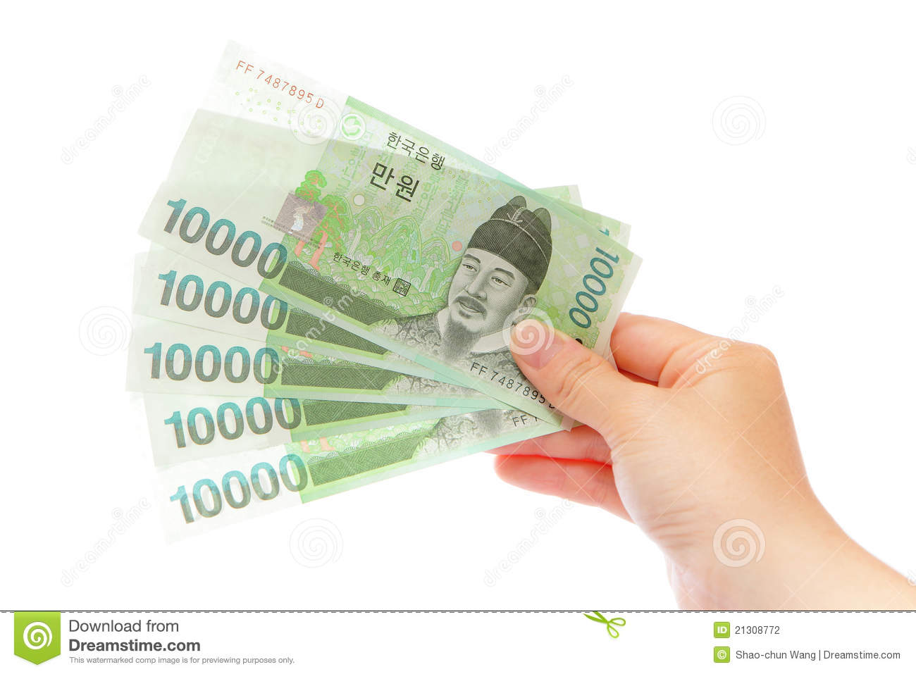 Korea Money Won And Hand Stock Image.