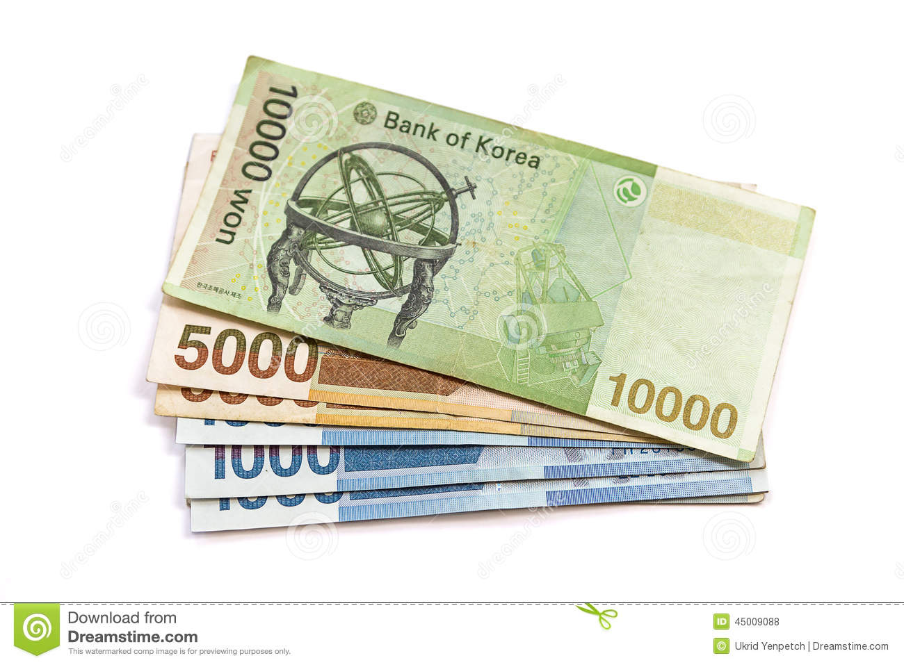 South Korean Won Currency Stock Photo.
