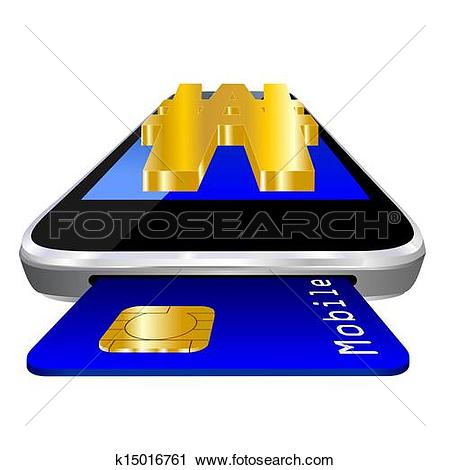 Clipart of mobile payment Korean Won k15016761.