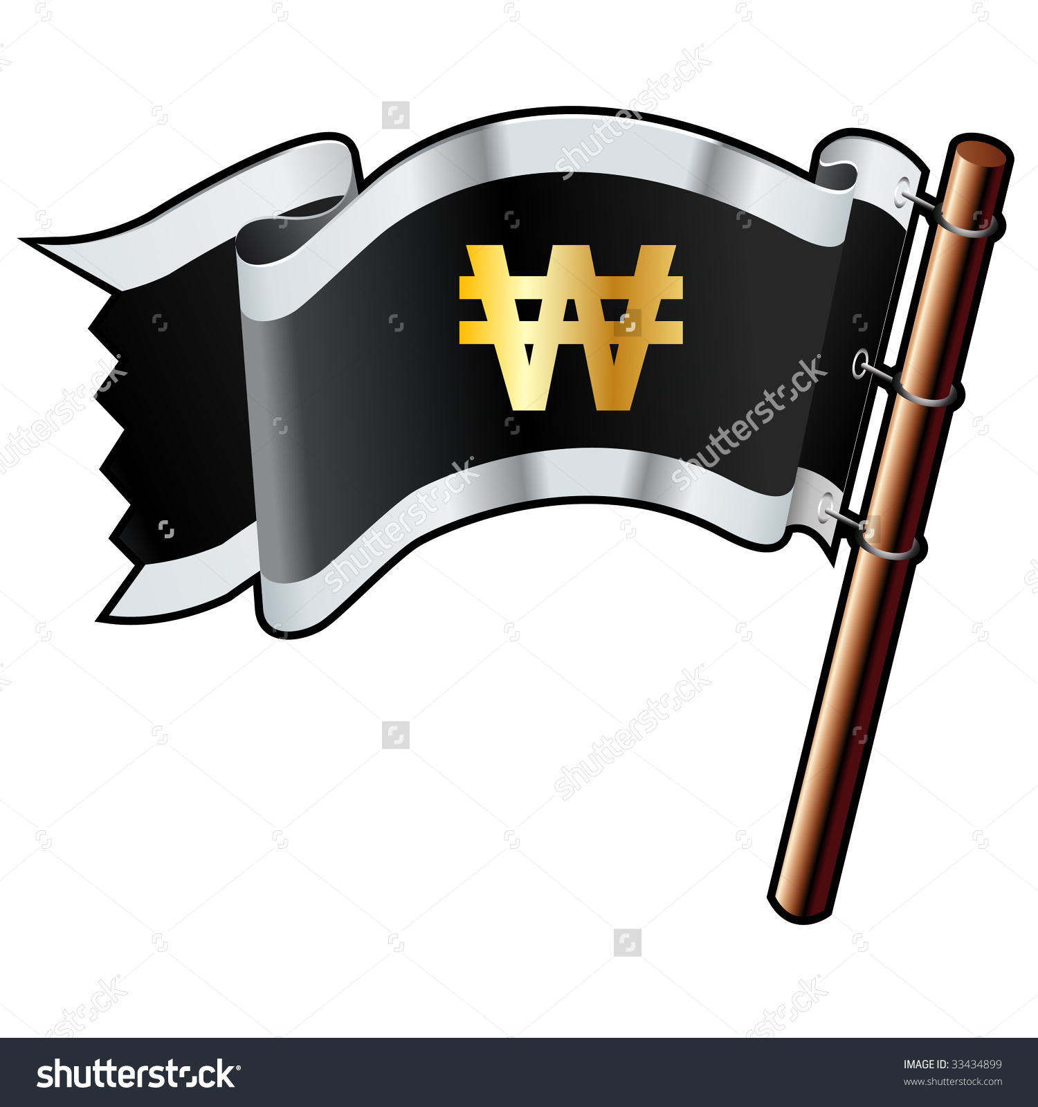 Korean Won Currency Symbol On Black, Silver, And Gold Vector Flag.