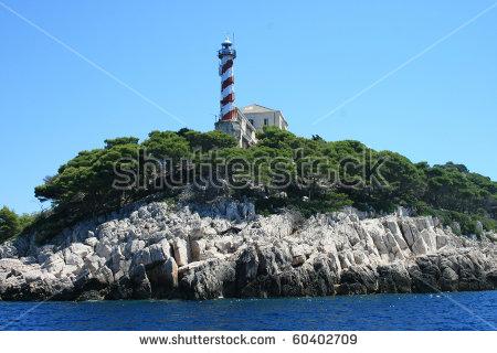 Beautiful Lighthouse On Kornati Islands, Croatia. Stock Photo.