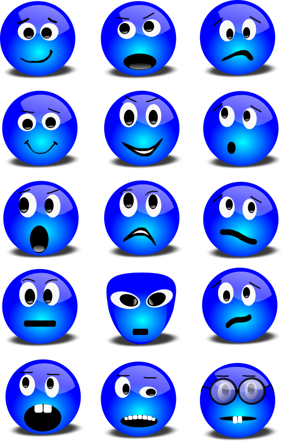 Blue Happy Face Cartoon.