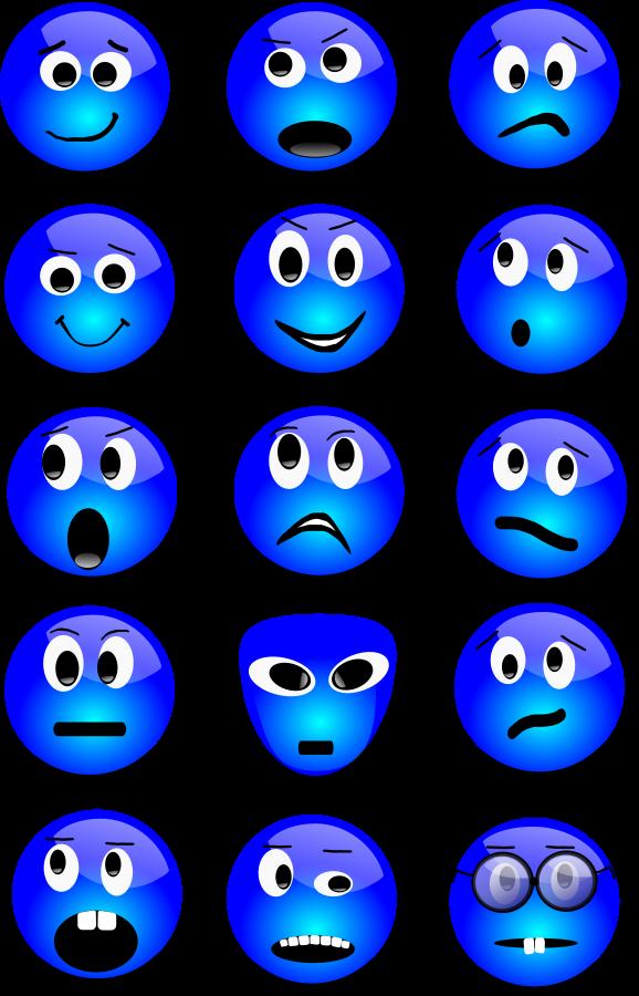 Blue Happy Face Cartoon.