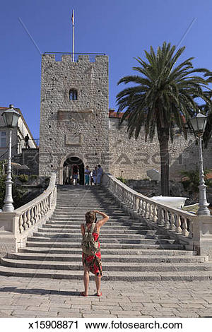 Stock Photography of Revelin Tower and Land Gate Korcula Old Town.