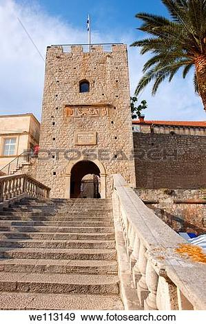 Stock Photograph of Trg Kralja Tomislava gate entrance of Korcula.