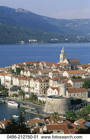 Stock Photography of Croatia, Korcula Island, Town Skyline.