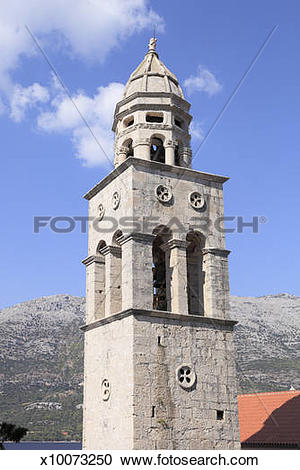 Stock Photography of Tower of Sveti Nikola Church, Korcula.