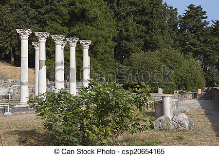 Stock Image of Asclepio at Kos island in Greece..