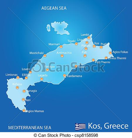 Vector of Island of Kos in Greece map on blue background.