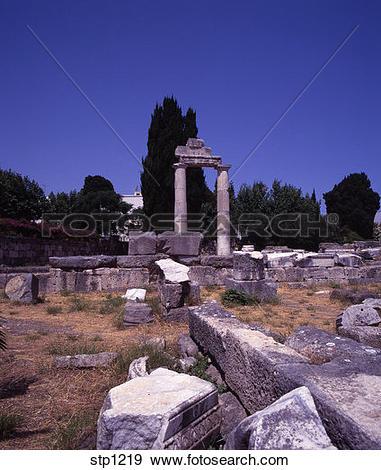 Stock Photograph of Ruins in The Ancient Agora. Kos Town. Kos.