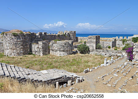 Stock Images of Castle at Kos island in Greece.