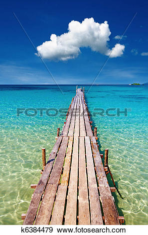 Stock Photograph of Wooden pier, Kood island, Thailand k6384479.