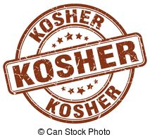 Vector Clipart of kosher food brown grunge round vintage rubber.