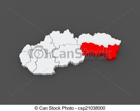 Stock Illustration of Map of Kosice Region Slovakia 3d csp21038000.