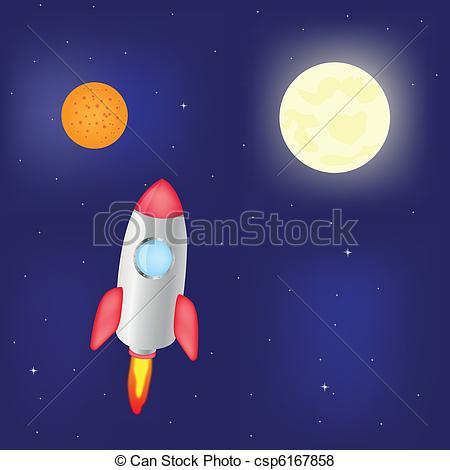 Vector of Fantastic rocket flies in cosmos.