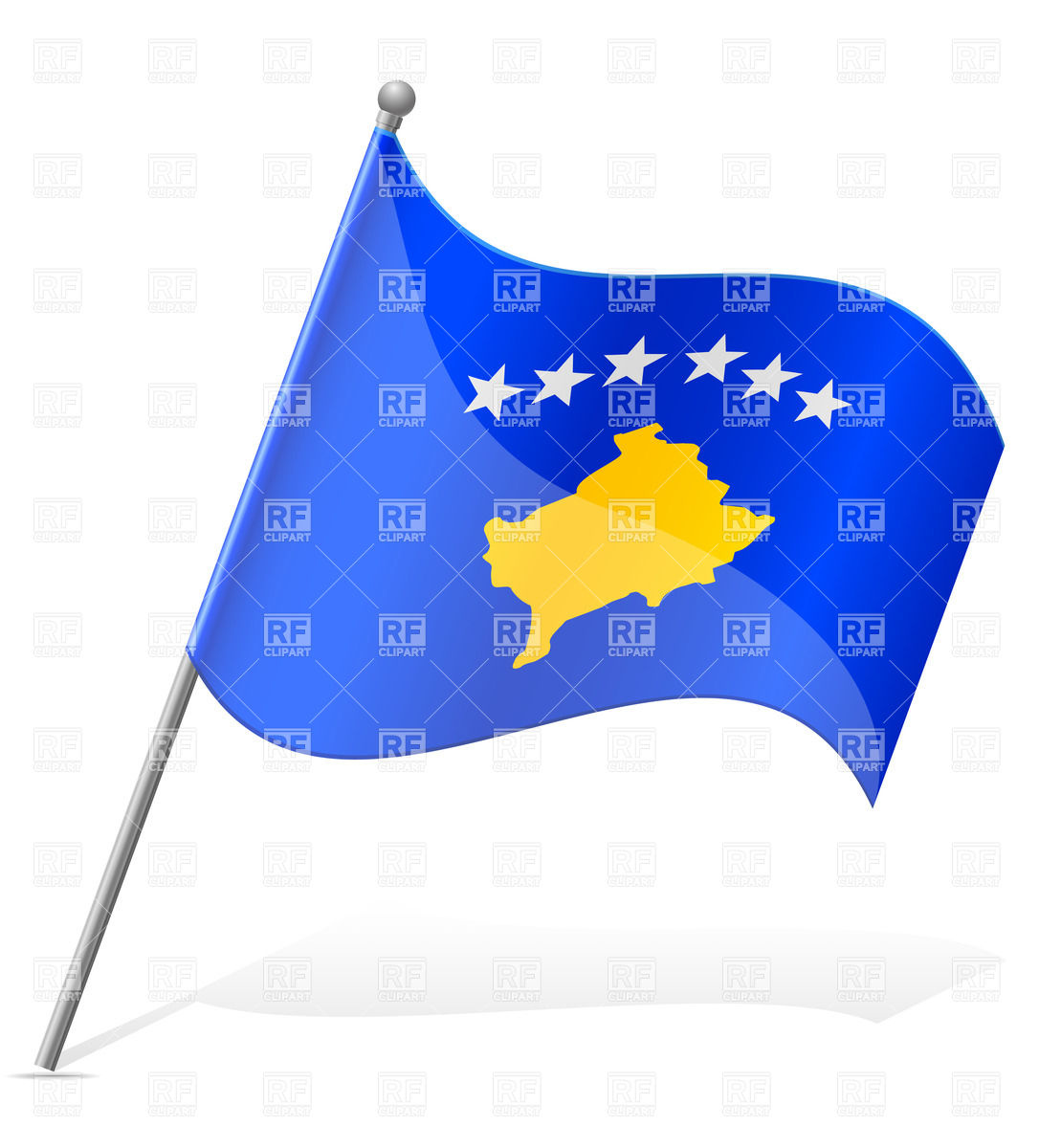 Wavy flag of Kosovo Vector Image #38625.