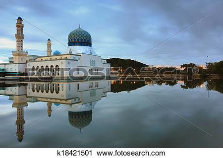 Stock Photography of Reflection of Kota Kinabalu mosque k18421501.