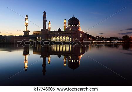 Stock Image of Kota Kinabalu mosque at dusk k17746605.