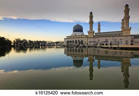 Stock Photography of Kota Kinabalu mosque reflection k16125420.
