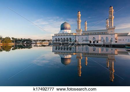Picture of Reflection of Kota Kinabalu mosque k17492777.