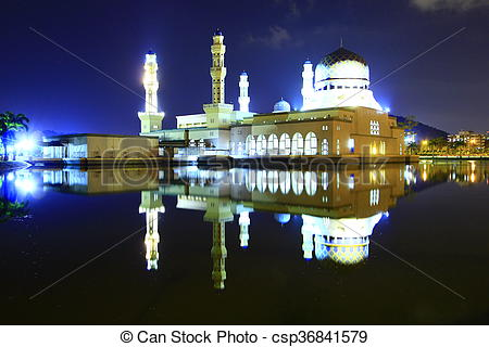 Picture of Kota Kinabalu city mosque at night in Sabah, East.