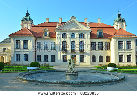 Baroque Chateau Jemniste Central Bohemia Chateau Stock Photo.