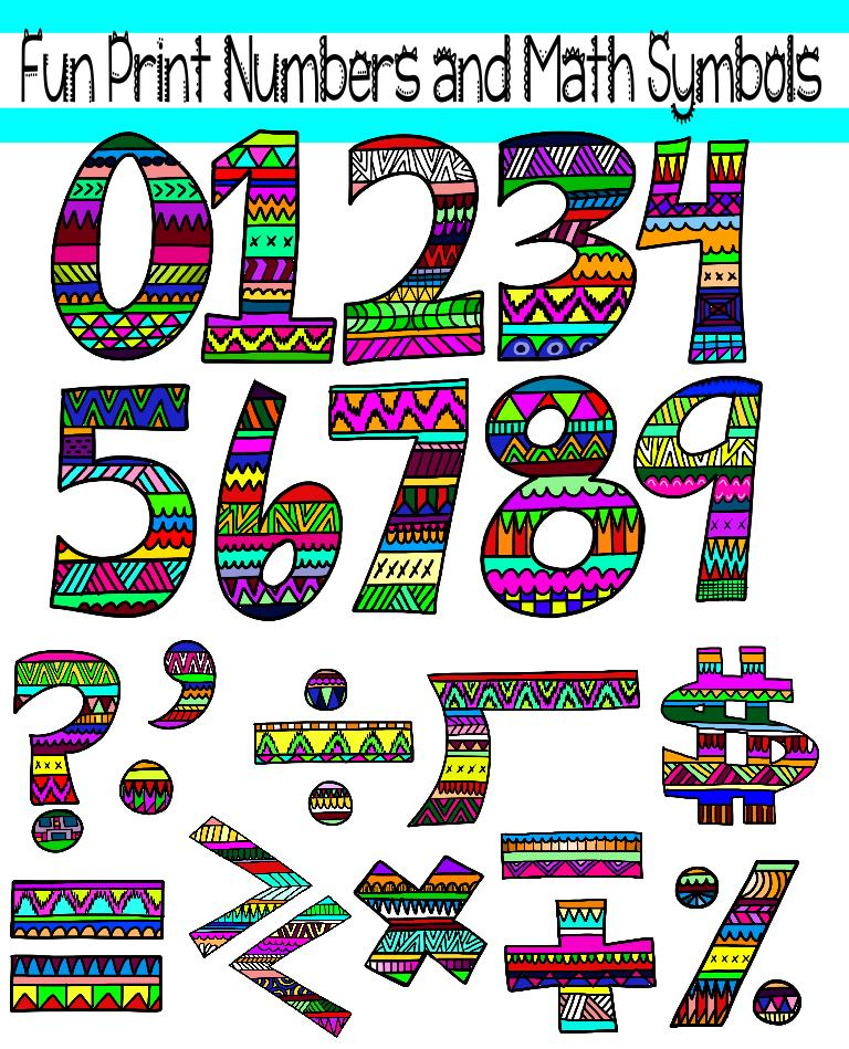 Clip Art Funny Numbers Clipart.