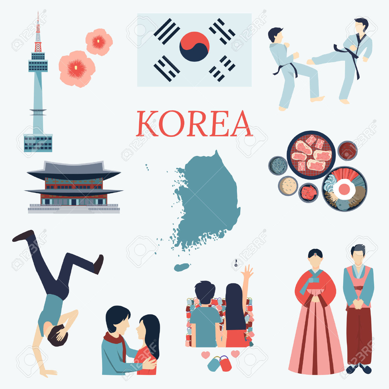 All About Korea. Flat Design Elements. KPOP Korean Seriesflag.