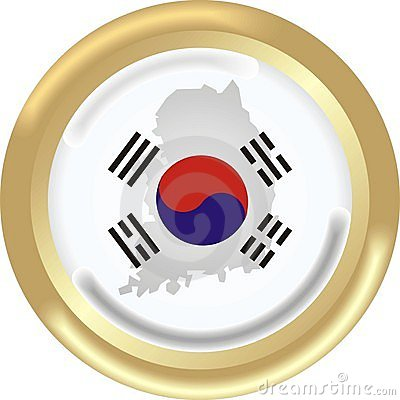 Sign On South Korea Map Flag Royalty Free Stock Photos.