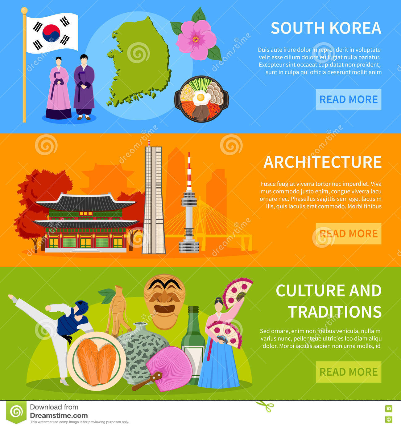 All About Korea. Flat Design Elements. KPOP, Korean Series,flag.