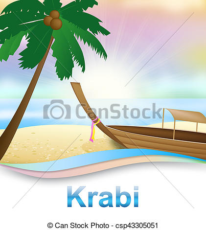 Stock Illustrations of Krabi Beach Shows Thailand Holiday 3d.