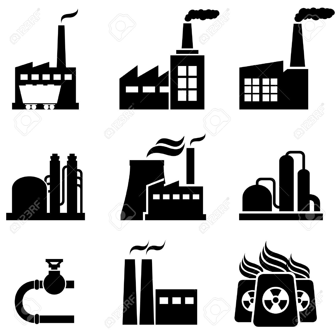 Power Plants, Nuclear Plants, Factories And Industrial Buildings.
