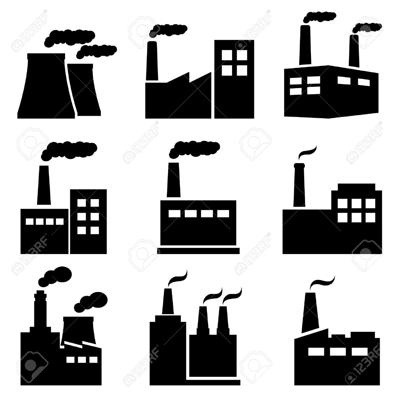 Factory, Power Plant, Nuclear Plant Industrial Icons Royalty Free.