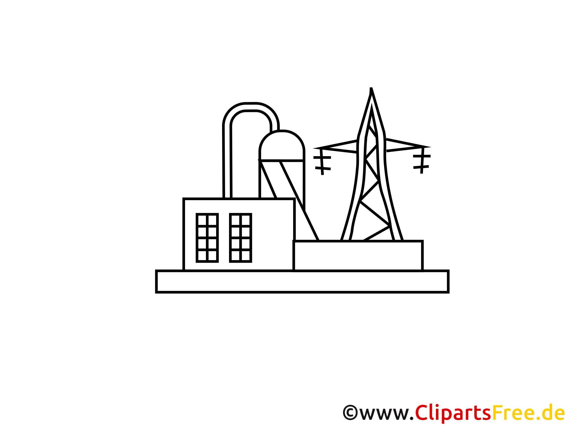 Stromerzeugung, Kraftwerk Zeichnung, Grafik, Clipart, Bild.