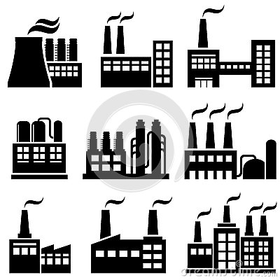 Industrial Icon Set Royalty Free Stock Photography.