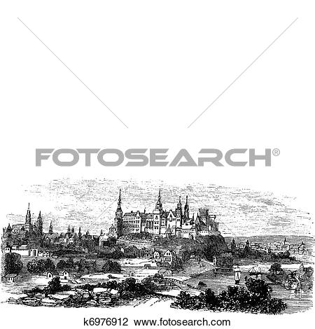 Clipart of Wawel Castle or Royal Castle in Krakow, Poland, during.