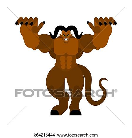 Krampus is scary. Hands forward. Attack of demon Christmas Clipart.