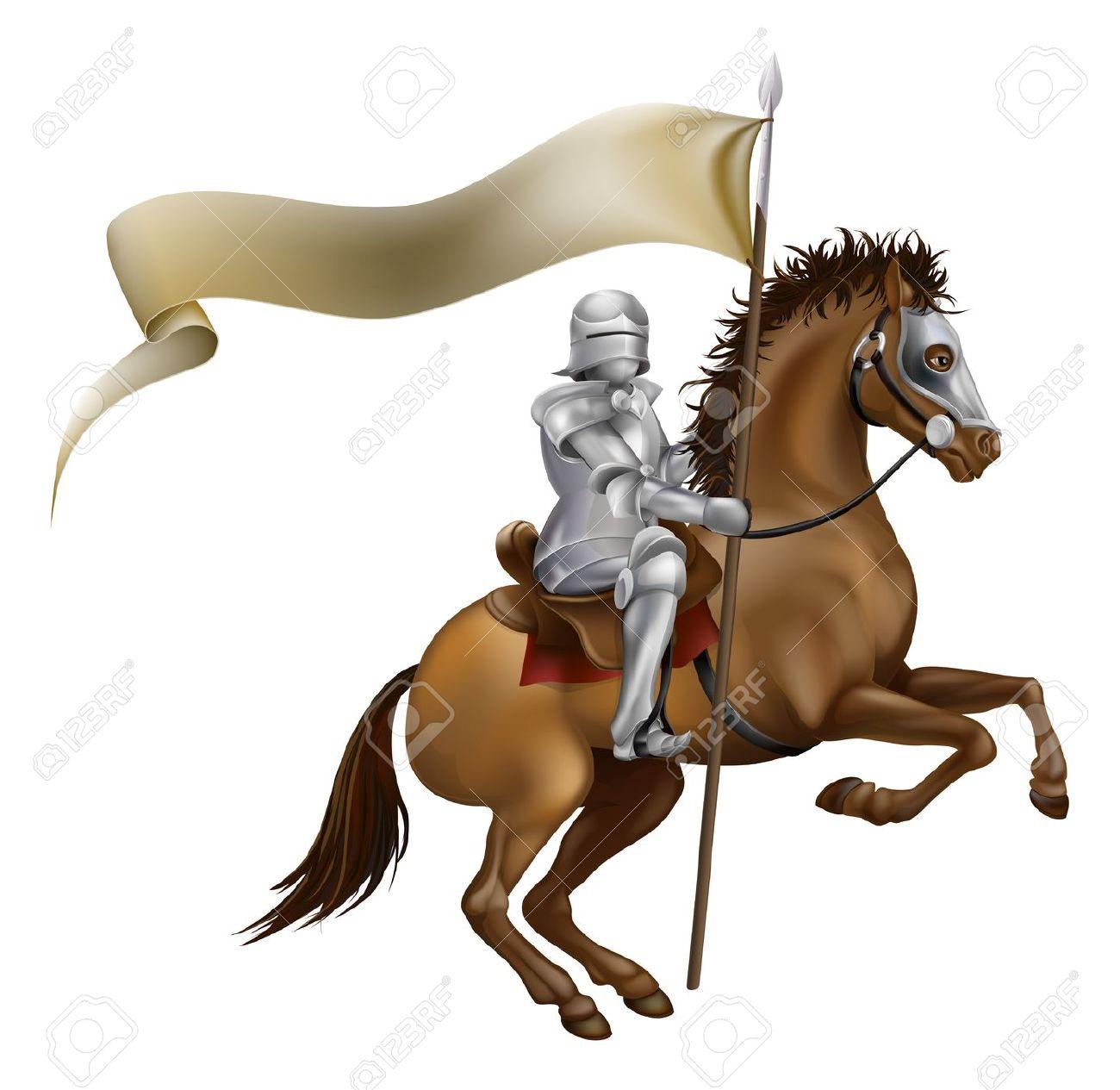 En Riddare Med Spjut Och Banner Monterad På En Kraftig Häst.