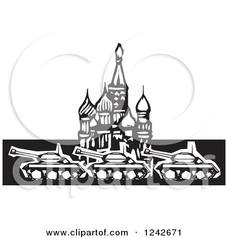 Clipart of a Black and White Woodcut Russian Military Tanks at.
