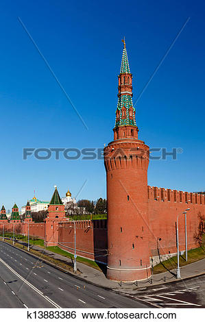 Stock Images of Moscow Kremlin Wall and Beklemishevskaya Tower.