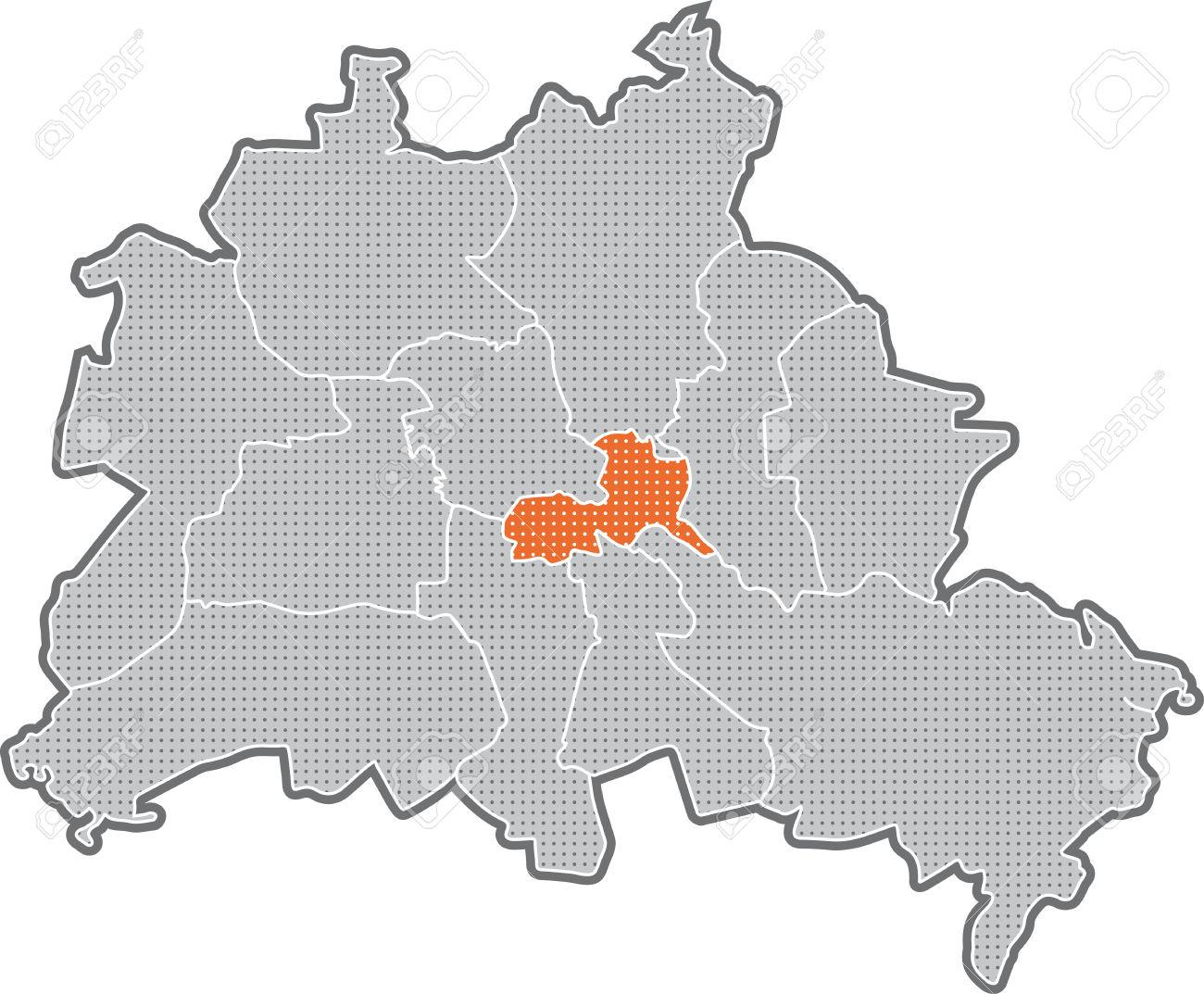 Map Of Berlin, Focus On District Friedrichshain Kreuzberg Stock.